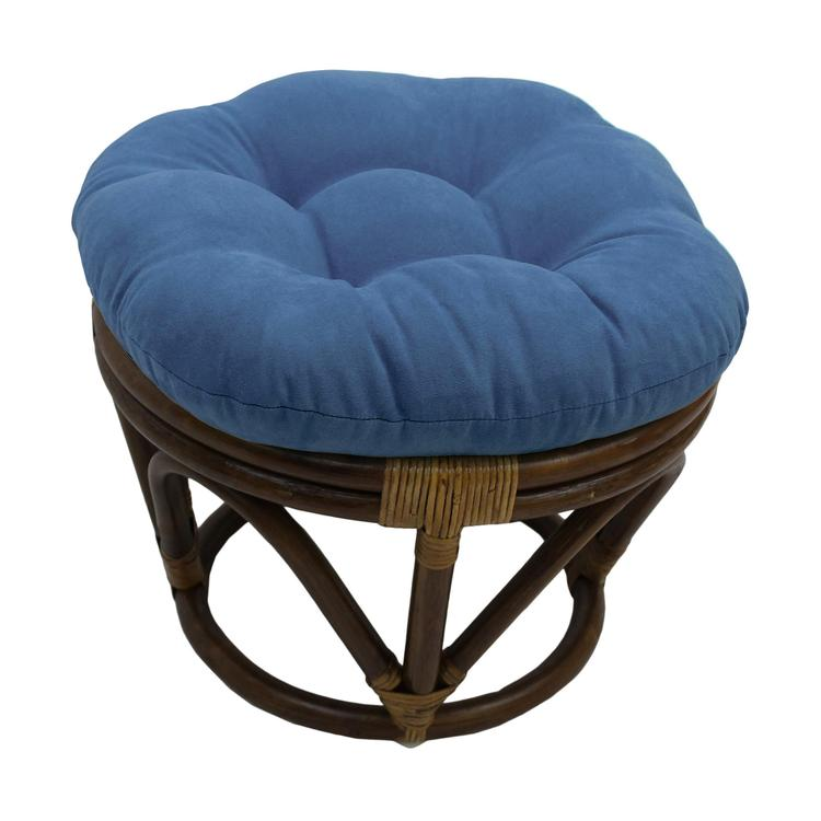 18-inch Round Solid Micro Suede Tufted Footstool Cushion
