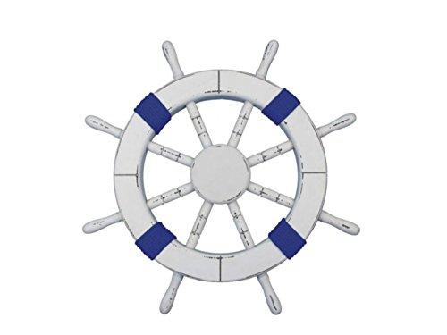 Rustic White Decorative Ship Wheel with Dark Blue Rope 18''