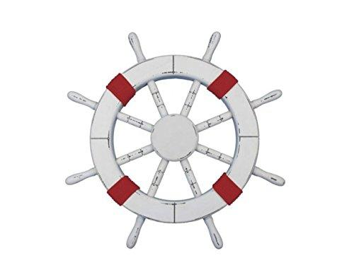 Rustic White Decorative Ship Wheel with Red Rope 18''