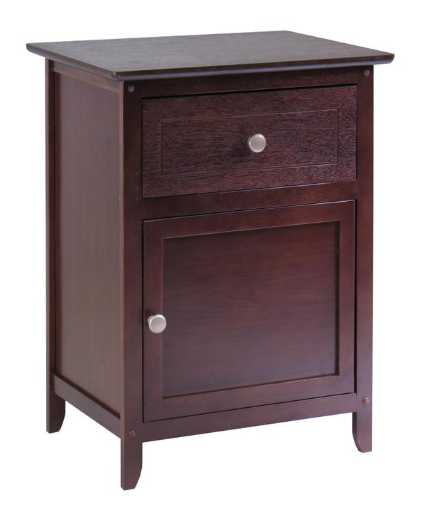Night Stand/ Accent Table with Drawer and cabinet for storage, Knob Handle