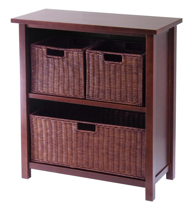 Winsome Wood Milan 4pc Cabinet/Shelf with 3 Baskets