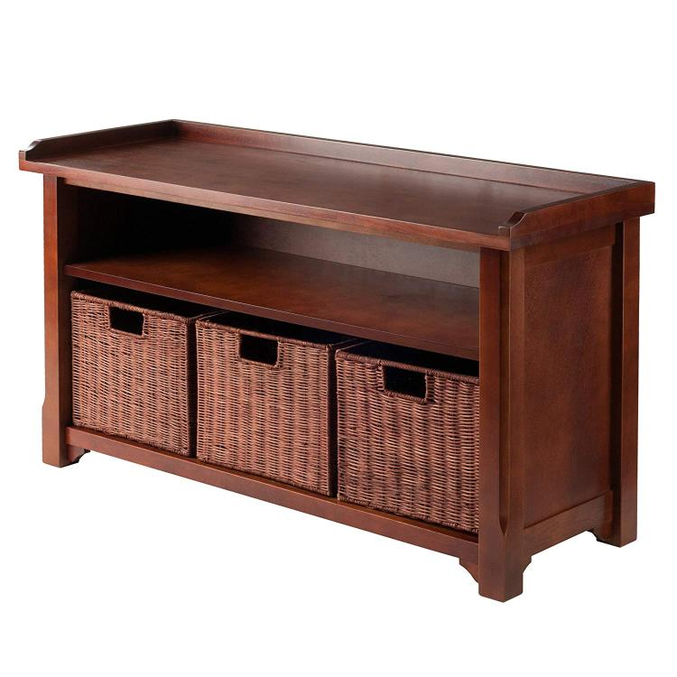 Winsome Wood Bench with Storage shelf and 3 Small Baskets