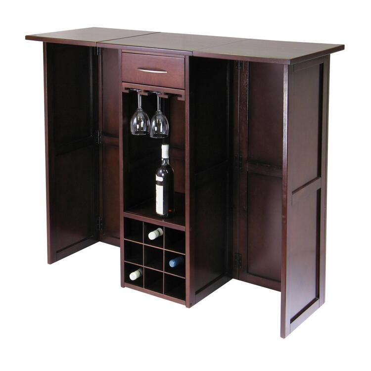 Winsome Wood Newport Wine Bar Expandable Counter