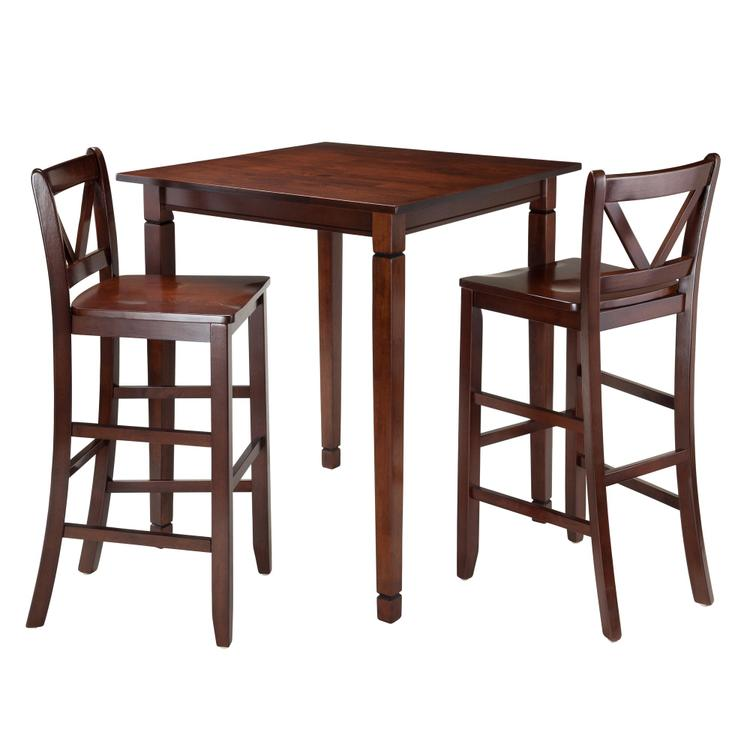 Winsome Wood Kingsgate 3-Pc Dining Table with 2 Bar V-Back Chairs