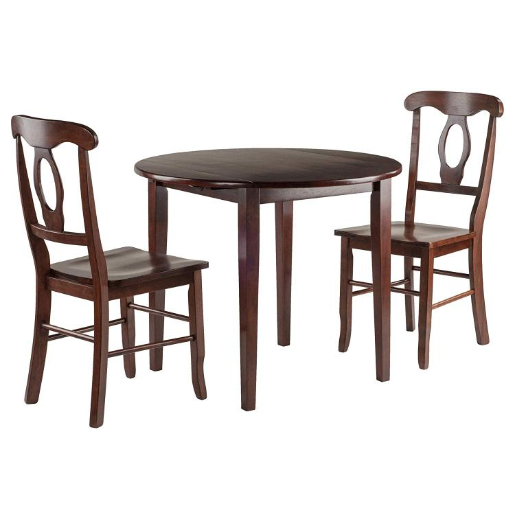 Winsome Wood Clayton 3-PC Set Drop Leaf Table with 2 Keyhole Back Chairs