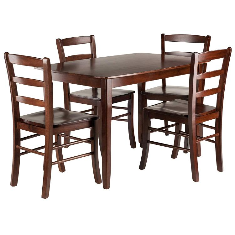 Winsome Wood Inglewood 5-PC Set Dining Table w/ 4 Ladderback Chairs
