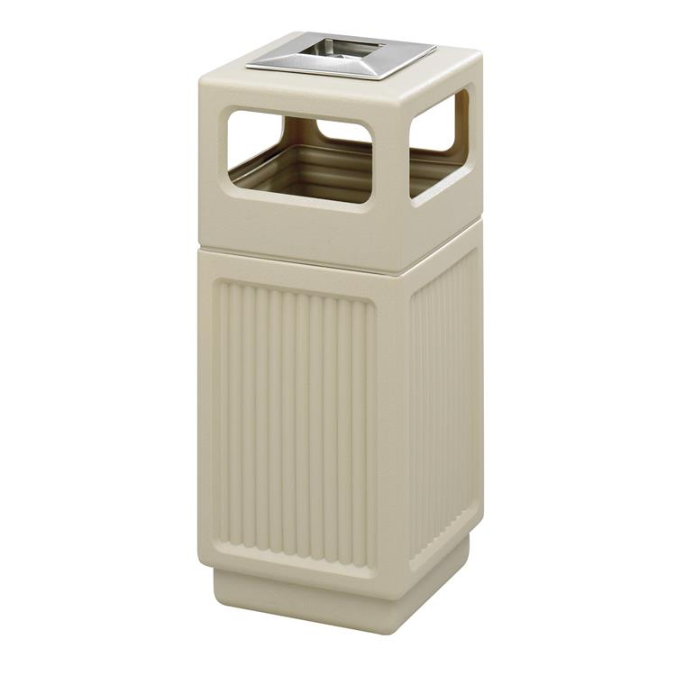 Canmeleon™ Indoor Outdoor Trash Can, Recessed Panel, Ash Urn, 38 Gallon