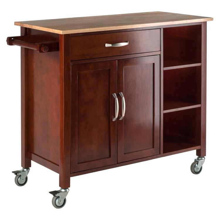 Winsome Wood Mabel Kitchen Cart Walnut/Natural