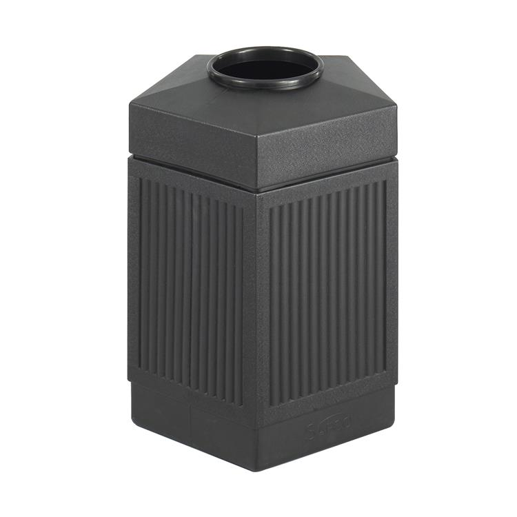 Canmeleon™ Indoor Outdoor Trash Can, Pentagon, Open Top, 45 Gallon, Black
