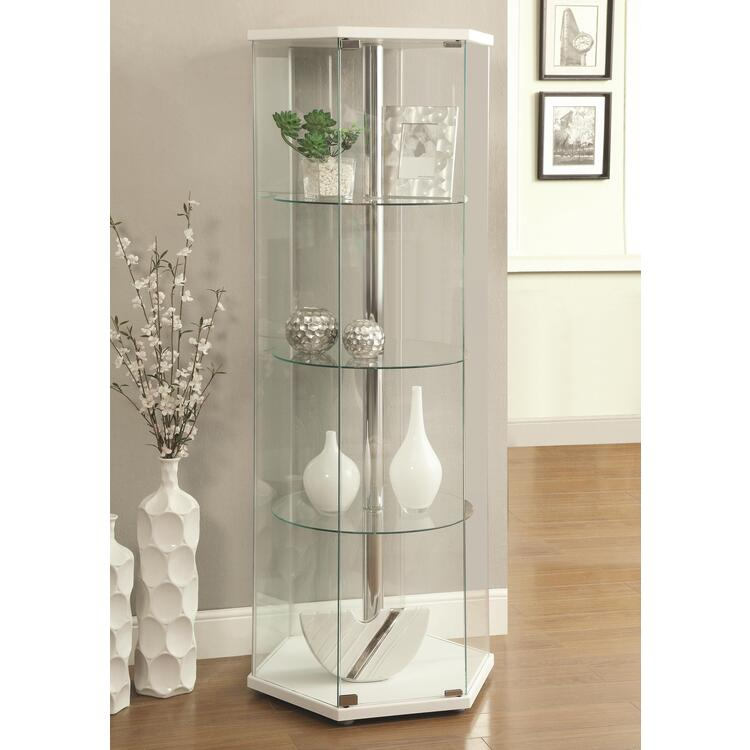 Coaster Home Traditional Glass Hexagon Curio Cabinet