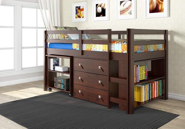 Donco Kids Low Loft With Desk, Chest & Bookcase