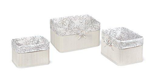 Claremont Bamboo Three Basket Set - White
