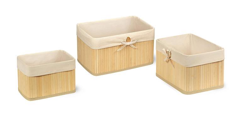 Badger Basket Claremont Bamboo Three Basket Set - Natural