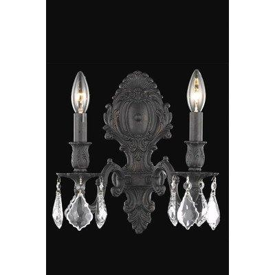 9602 Monarch Collection Wall Sconce W10in H11.5in E7.5in Lt:2 Dark Bronze Finish (Elegant Cut Crystals)