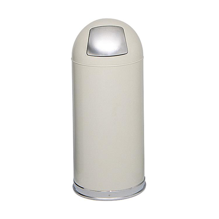 Dome Top Trash Can, Push Door, 15 Gallon
