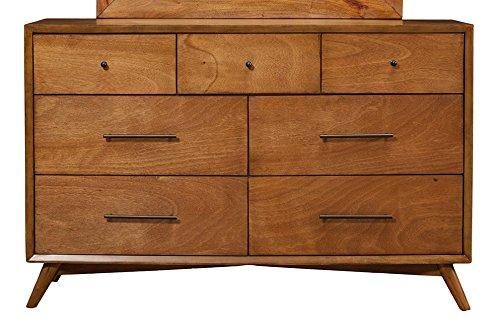 Flynn Mid Century Modern 7 Drawer Dresser in Acorn Finish