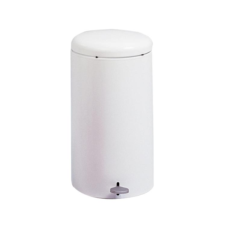 Round Step-On Trash Can, 7 Gallon, White