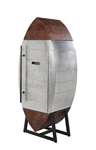 ACME Brancaster Wine Cooler Cabinet, Retro Brown TGL & Aluminum