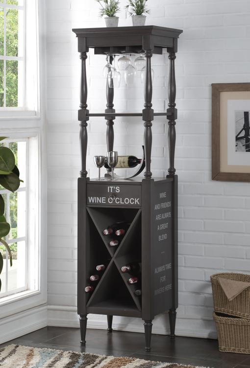 ACME Anthony Wine Cabinet, Antique Gray