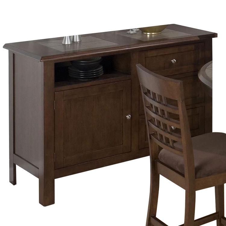 Caleb Brown Finished Server W/ Tile Top, 3 Drawers And Door