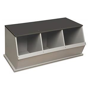 Badger Basket Three Bin Stackable Storage Cubby - Woodgrain/Gray [Item # 97745]