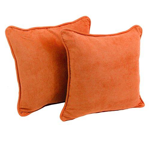 Blazing Needles 18-inch Double-corded Solid Microsuede Square Throw Pillows with Inserts (Set of 2)
