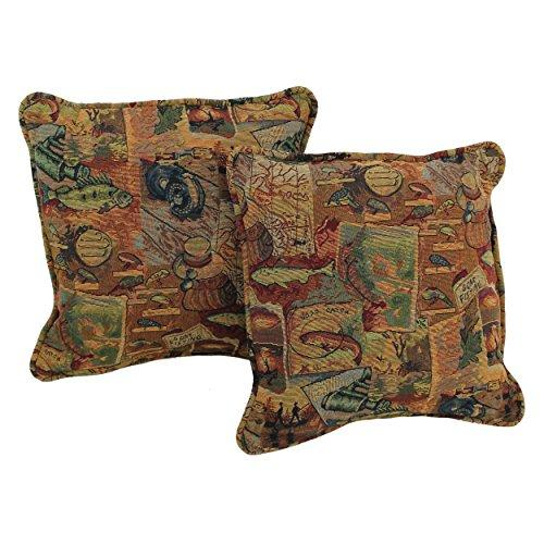 18-inch Double-corded Patterned Tapestry Square Throw Pillows with Inserts (Set of 2)