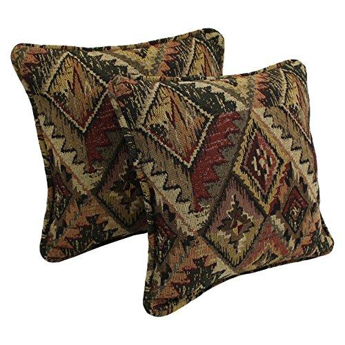 Blazing Needles 18-inch Double-corded Patterned Tapestry Square Throw Pillows with Inserts (Set of 2)