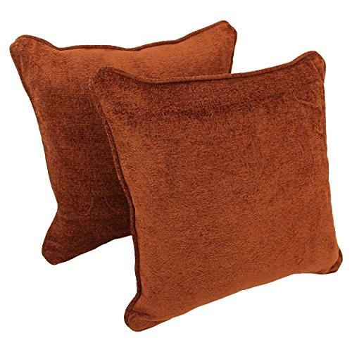 18-inch Double-corded Square Patterned Jacquard Chenille Throw PIllows with Inserts (Set of 2)