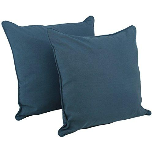 25-inch Double-corded Solid Twill Square Floor Pillows with Inserts (Set of 2)