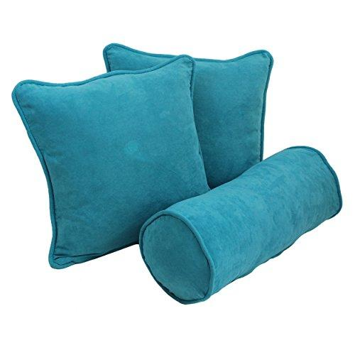 Blazing Needles Double-corded Solid Microsuede Throw Pillows with Inserts (Set of 3)