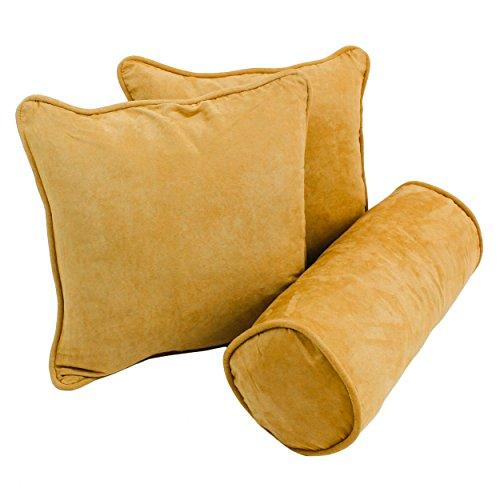 Double-corded Solid Microsuede Throw Pillows with Inserts (Set of 3)