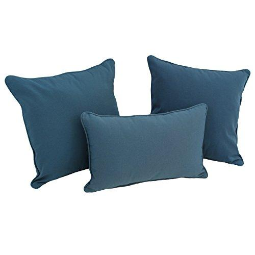 Double-corded Solid Twill Throw Pillows with Inserts (Set of 3)