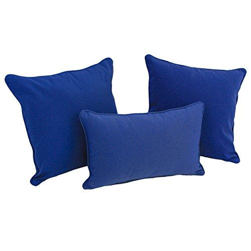 Blazing Needles Double-corded Solid Twill Throw Pillows with Inserts (Set of 3)
