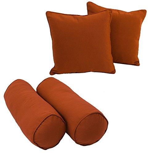 Blazing Needles Double-corded Solid Twill Throw Pillows with Inserts (Set of 4)