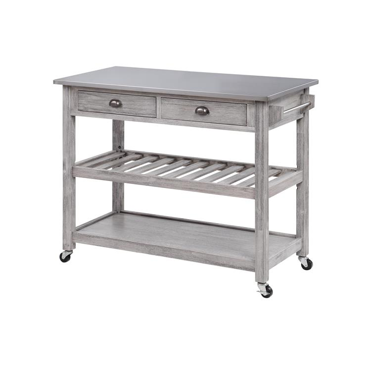 Boraam Sonoma Kitchen Cart with Stainless Steel Top, Storm Gray Wire-Brush