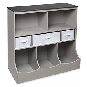 Badger Basket Combo Bin Storage Unit with Three Baskets - Woodgrain/Gray