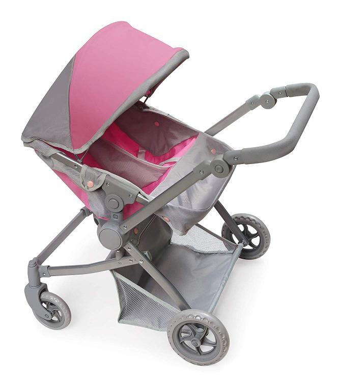 Badger Basket Voyage Twin Carriage Doll Stroller - Gray/Pink