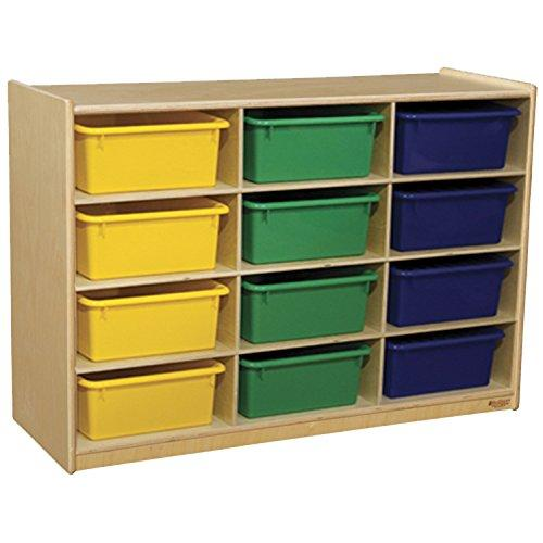Wood Designs Mobile Cubby Shelves with Assorted Trays