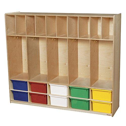 Five Section Locker with Assorted Cubby Trays