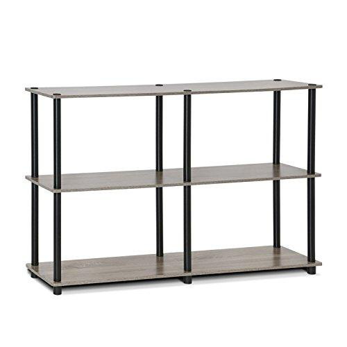 Furinno 99130GYW/BK Turn-N-Tube 3-Tier Double Size Storage Display Rack, French Oak Grey/Black