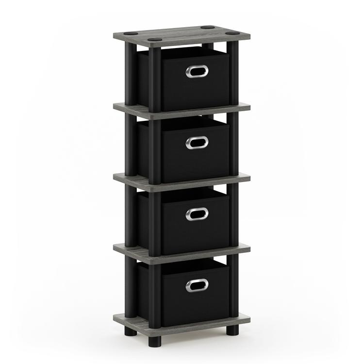 Furinno Turn-N-Tube LACi 4-Bins System Rack, French Oak Grey/Black