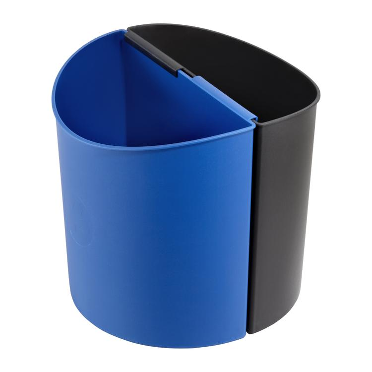 Desk Side Recycling Trash Can, Small, 3 Gallon Each, Black & Blue