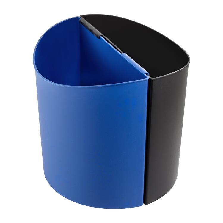 Desk Side Recycling Trash Can, Large, 7 Gallon Each, Black & Blue