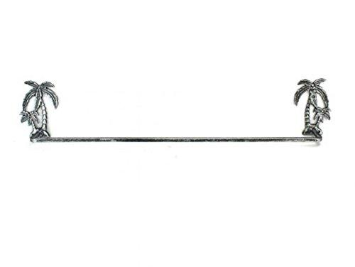 Antique Silver Cast Iron Palm Tree Bath Towel Holder 28''