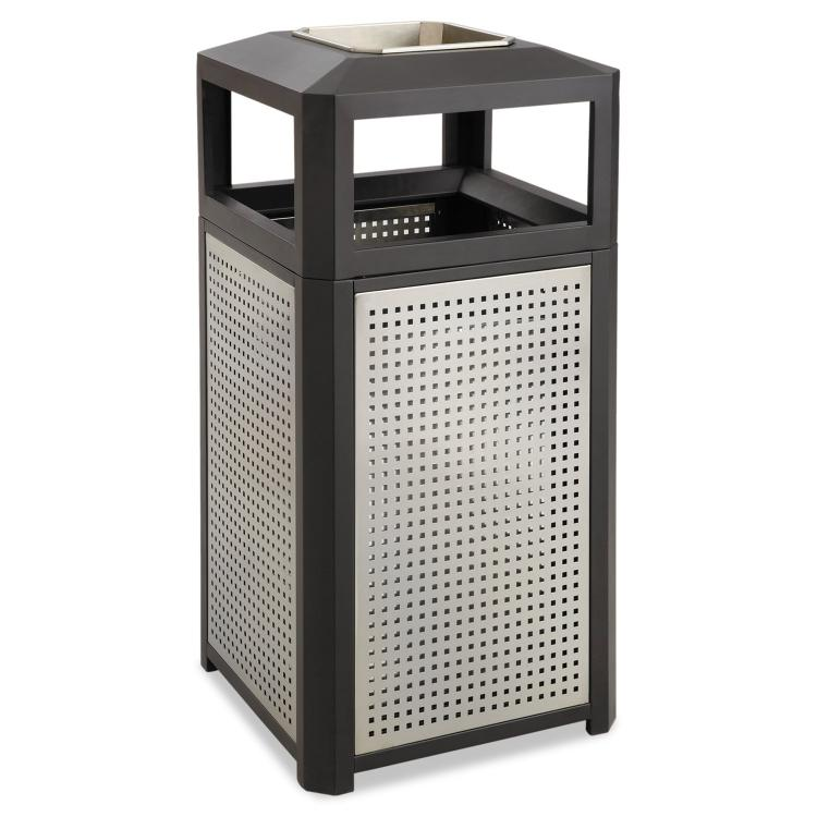 Evos™ Indoor Outdoor Trash Can, Ash Urn, 38 Gallon, Black & Silver