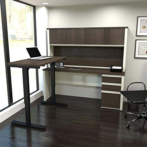 Bestar Prestige  L-Desk with Hutch including Electric Height Adjustable Table in White Chocolate & Antigua