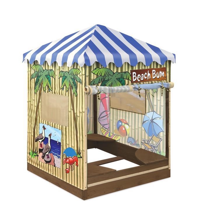 Beach Bum Covered Cabana Sandbox and Playhouse