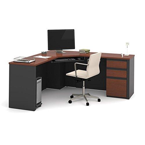 Bestar Prestige  Corner Desk including one pedestal in Bordeaux & Graphite