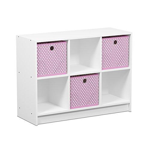 Furinno Basic 3x2 Bookcase Storage w/Bins, White/Pink